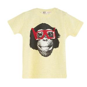 Pop Boys Gözlüklü Maymun Kısa Kol Tişört Keskin Sarı (9 ay-7 yaş)
