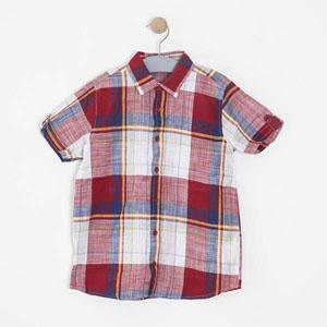 Erkek Çocuk Ekoseli Kısa Kol Gömlek Kırmızı (8-12 yaş)