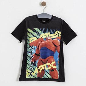 Lisanslı Big Hero 6 Kısa Kol Tişört Siyah (7-9 yaş)