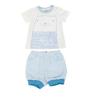 Erkek Bebek Kısa Kol T-Shirt Salopet Set Mavi (0-24 ay)