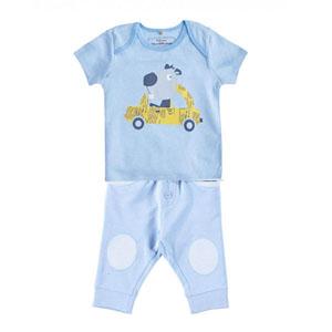 Erkek Bebek Kısa Kol Tişört Pantolon Set Mavi (0-2 yaş)