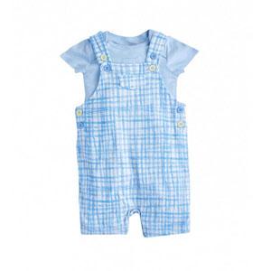 Erkek Bebek Kısa Kol Tişört Salopet Set Açık Mavi (0-2 yaş)