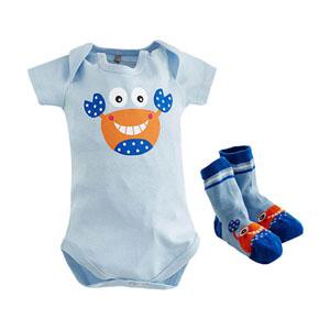 Erkek Bebek Badi-Çorap Set Mavi  (0-12 ay)