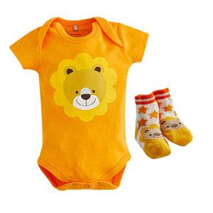 Gift Ayıcıklı Badi-Çorap Set Turuncu  (0-12 ay)