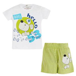 Kısa Kol Şort Pijama Takımı Beyaz (0-3 yaş)