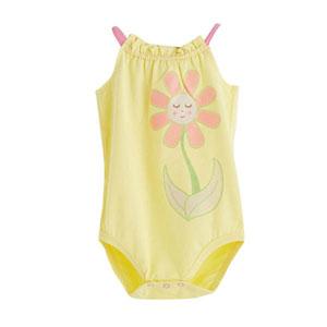 Sun Flower Kolsuz Kız Bebek Badi Sarı (9-24 ay)