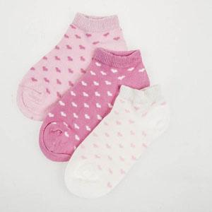 Puantiyeli Patik Üçlü Patik Çorap Seti Pembe (23-34 numara)