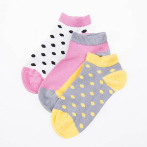 Puantiyeli Üçlü Patik Çorap Seti Pembe (23-34 numara)