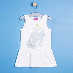 Kız Çocuk Askılı Elbise Beyaz (4-7 yaş)