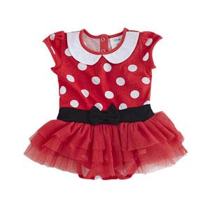Disney Minnie Badili Elbise Kırmızı  (0 ay-3 yaş)