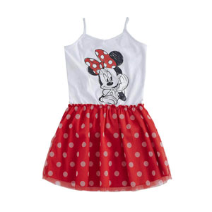 Disney Minnie Askılı Elbise Beyaz  (9 ay-7 yaş)