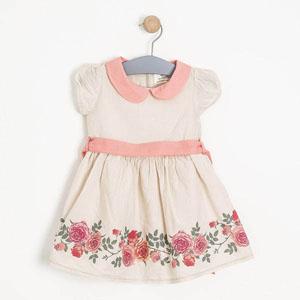 Kız Çocuk Kısa Kol Elbise Krem (2-7 yaş)