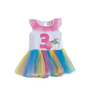 Happy Birthday Girls 3 Yaş Temalı Elbise Beyaz (9 ay-5 yaş)