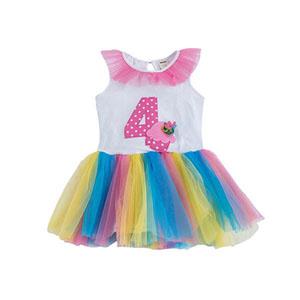 Happy Birthday Girls 4 Yaş Elbise Beyaz  (9 ay-5 yaş)