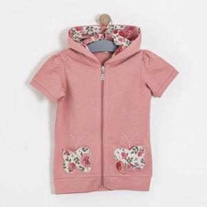 Floral Kids Kapüşonlu Kısa Kol Sweatshirt Pembe  (2-7 yaş)