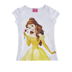 Disney Princess Kız Çocuk Kısa Kol Tişört Beyaz  (2-8 yaş)