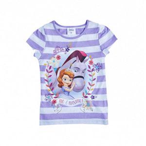 Disney Sofia The First Çizgili Kısa Kol Tişört Lila  (2-8 yaş)