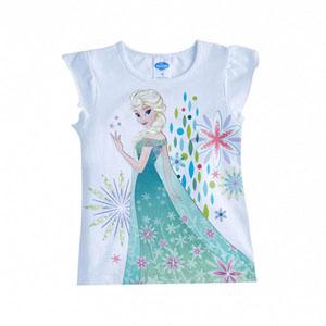 Lisanslı Disney Frozen Kolları Fırfırlı Tişört Beyaz  (4-7 yaş)