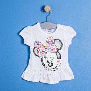 Lisanslı Disney Minnie Mouse Kısa Kol Eteği Fırfırlı Tişört Beyaz  (9