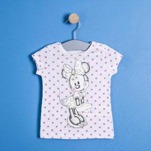 Lisanslı Disney Minnie Mouse Kısa Kol Tişört  Beyaz  (9 ay- 7 yaş)