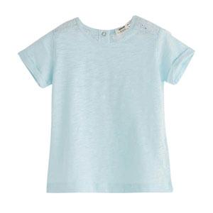 Kız Çocuk Omuz Detaylı Kısa Kol Tişört Pastel Mavi (9 ay-12 yaş)