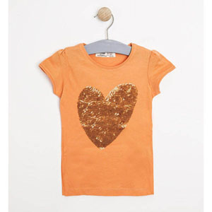 Pop Girls Payetli Kalp Kısa Kol Tişört Yavruağzı (9 ay-7 yaş)