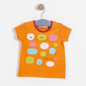 Pop Girls Gülen Suratlar Kısa Kol Tişört Oranj (9 ay-5 yaş)