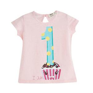 Pop Girls Pasta Desenli Kısa Kol Tişört Su Mavi (9 ay-5 yaş)