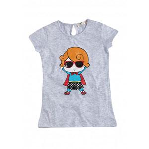 Pop Girls Süper Kız Kısa Kol Tişört Gri Melanj (9 ay-7 yaş)