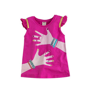 Absurt Pop Kolları Fırfırlı Tişört Pembe (2-7 yaş)