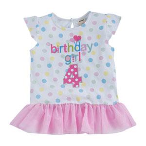 Happy Birthday Girls 4 Yaş Tişört Beyaz