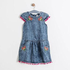 Kız Çocuk Kısa Kol Elbise Mavi (8-12 yaş)
