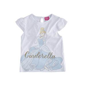 Disney Cinderella Kolları Fırfırlı Tişört Beyaz  (8-10 yaş)