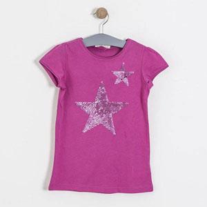 Pop Girls Payetli Yıldız Kısa Kol Tişört Menekşe (8-12 yaş)