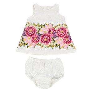 Floral Baby Kolsuz Elbise ve Külot Set Beyaz  (0-24 ay)