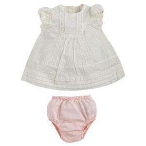 Bonbon Chic Kız Bebek Kısa Kol Elbise ve Külot Set Beyaz  (0-2 yaş)