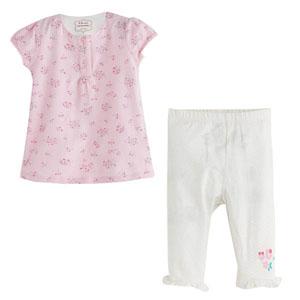 Picnic Blossom Kısa Kol Tişört ve Tayt Set Pembe (0-2 yaş)