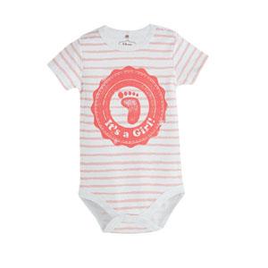 Kız Bebek Ayak Baskılı Zıbın Badi Beyaz (0-24 ay)