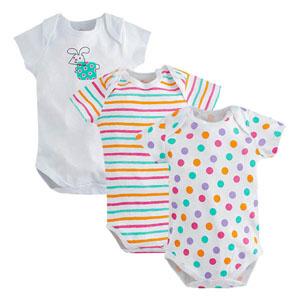 Cute Üçlü Kısa Kol Badi Set Beyaz  (0-24 ay)