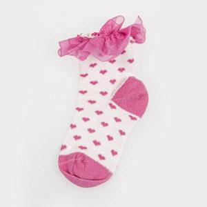 Kalp Desenli Fırfırlı Soket Çorap Beyaz (0-24 ay)
