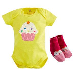 Gift Cupcake Badi-Çorap Set Sarı (0-12 ay)
