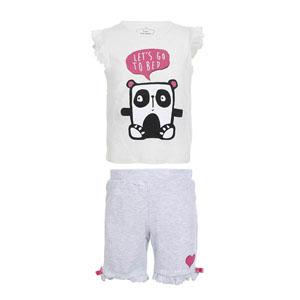 Kolsuz Kız Bebek Şort Pijama Takımı Kemik (0-3 yaş)