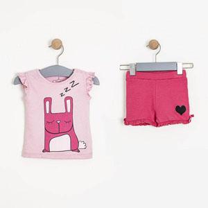 Kolsuz Şort Pijama Takımı Pembe (0-3 yaş)