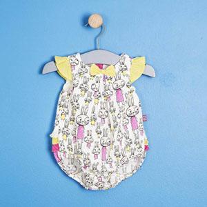 Kız Bebek Kolsuz Tulum Ekru (56-92 cm)