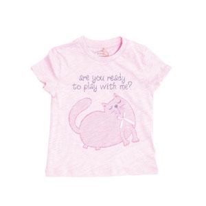 Ms Cat Kısa Kol Tişört Koyu Pembe (0-3 yaş)