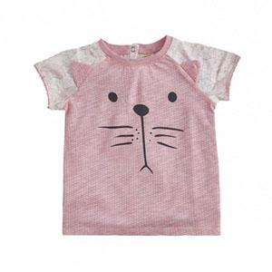 Ms Cat Kısa Kol Arkası Uzun Tişört Koyu Pembe (0-2 yaş)