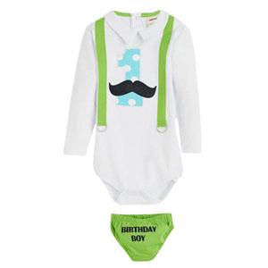 First Birthday Boy 1 yaş Askılı Badi-Külot Set Beyaz (1-3 yaş)