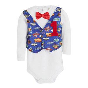 First Birthday Boy Ceketli Papyonlu Badi-Külot Set Beyaz (1-3yaş)