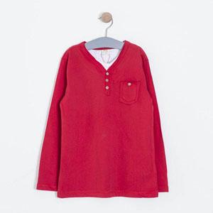 Erkek Çocuk Uzun Kol Tişört Kırmızı (8-10 yaş)