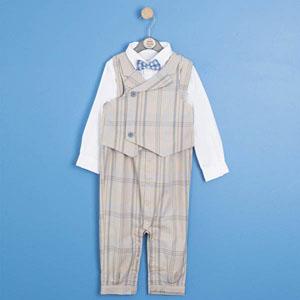Baby Boy Long Sleeve Rumper Vest Set Beige (0-2 yrs)